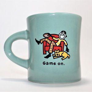 LIFE IS GOOD Game On Coffee Blue Mug Thick Ceramic
